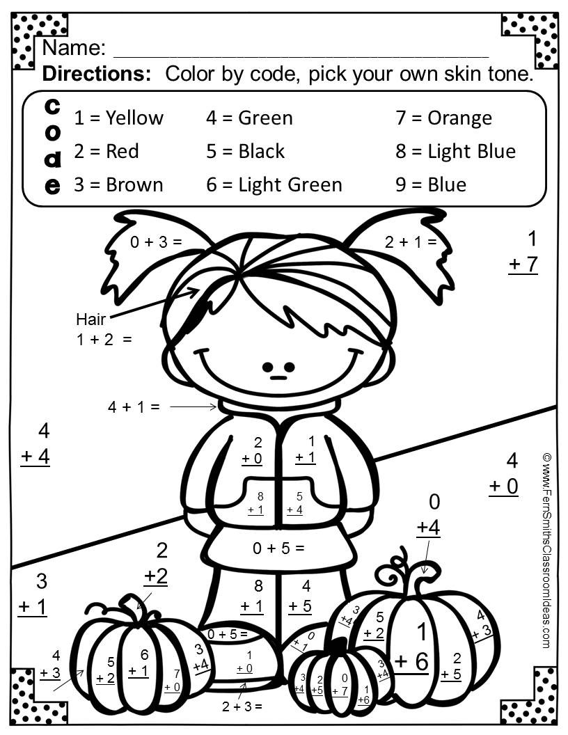 Christmas Addition Coloring Worksheets With Pages For Kindergarten Math First