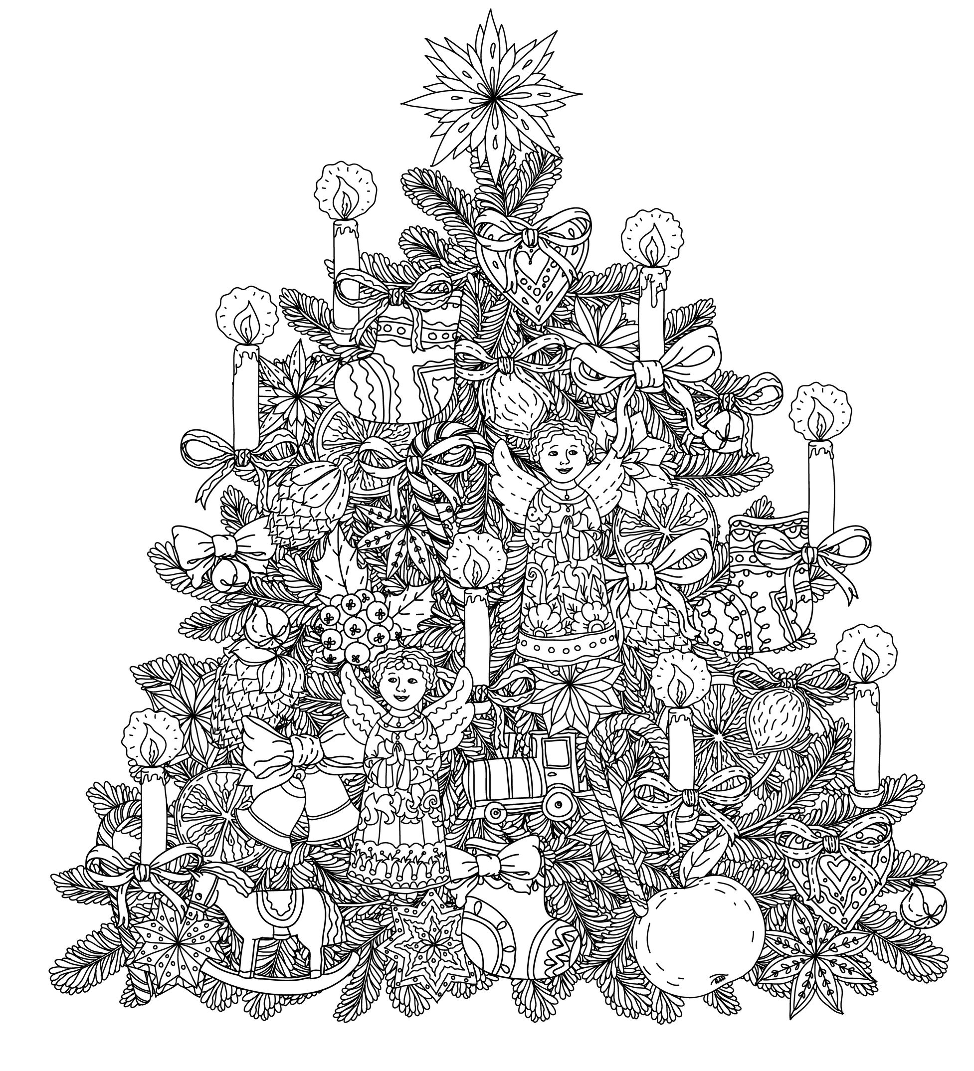 Christmas Adults Coloring Pages With Tree Adult Printable Free Books