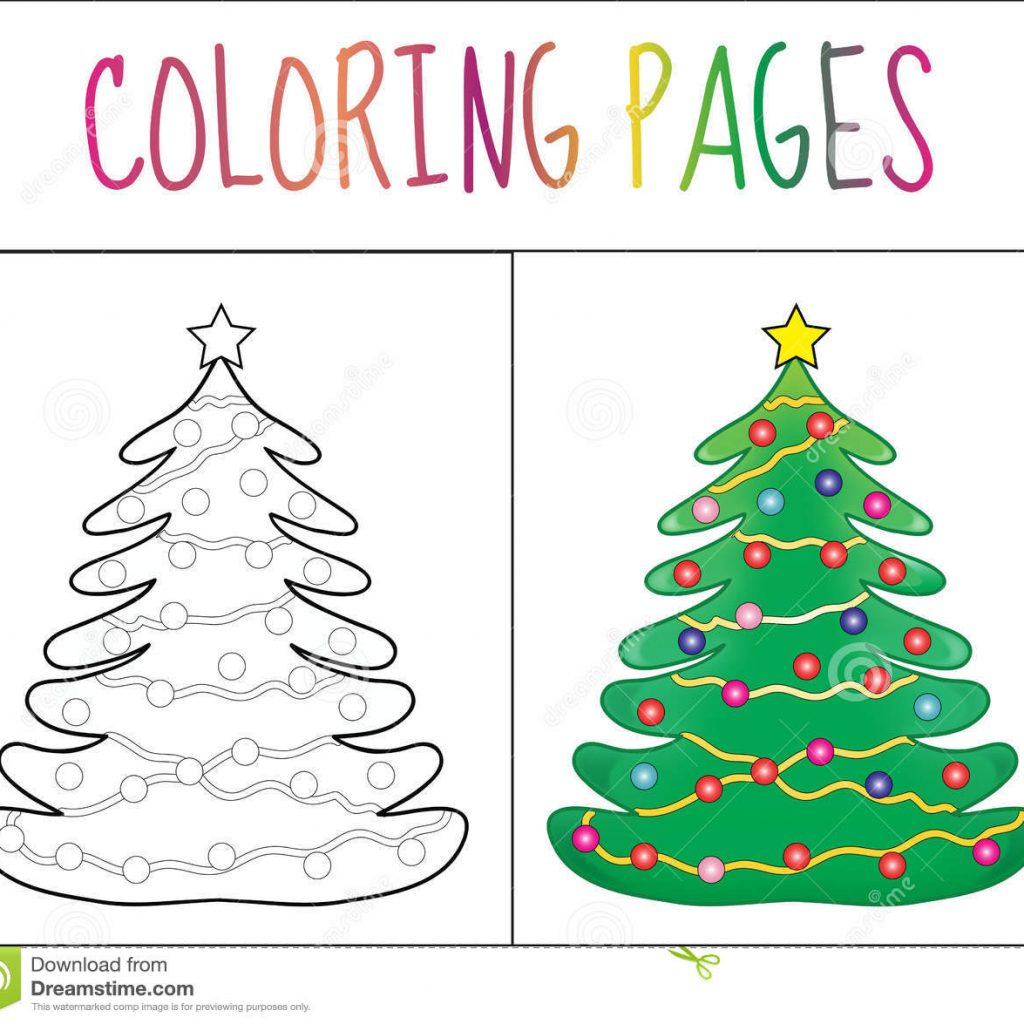 Christmas And New Year Coloring Pages With Book Page Tree Sketch