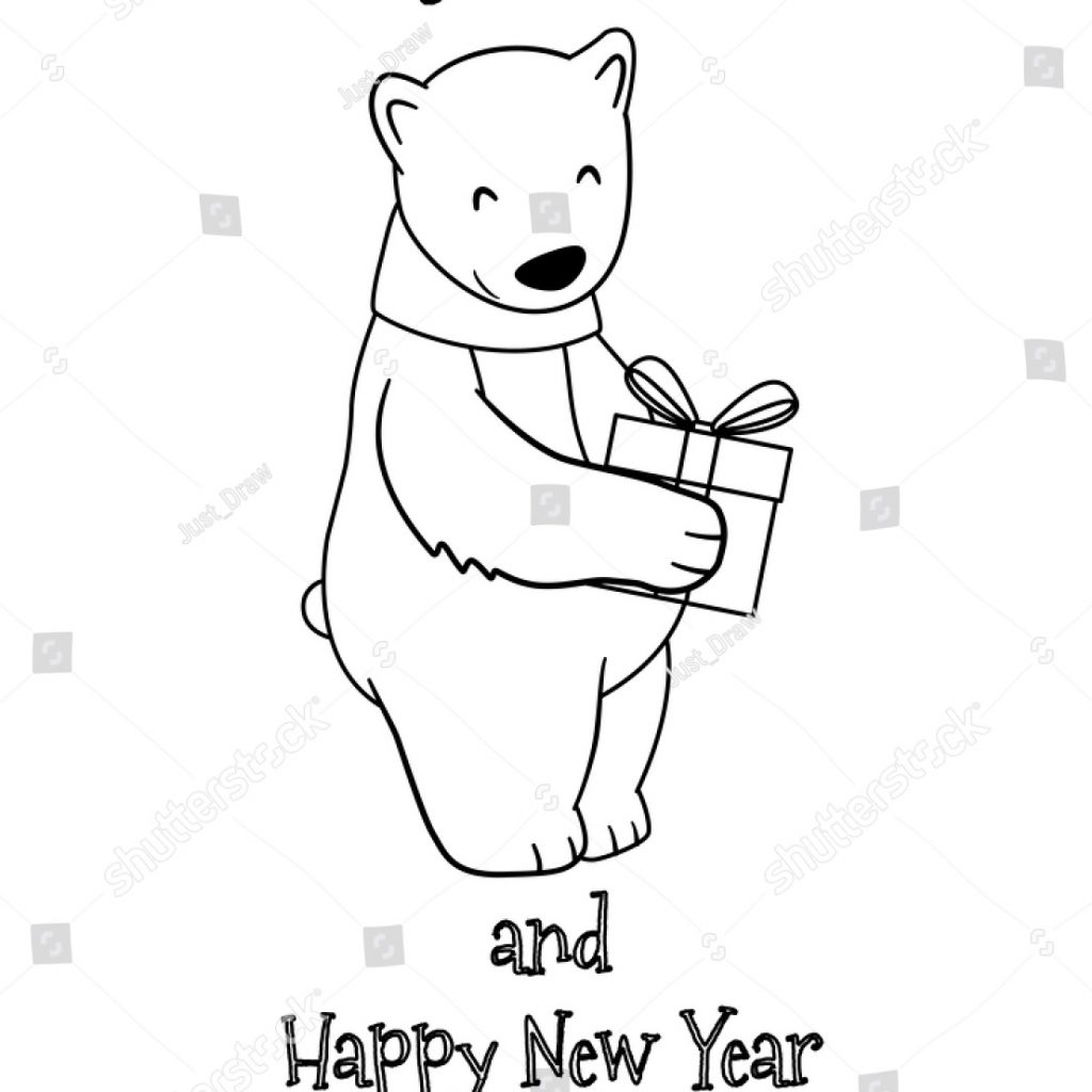 Christmas And New Year Coloring Pages With Cute Cartoon Polar Bear Gift Stock Vector Royalty Free