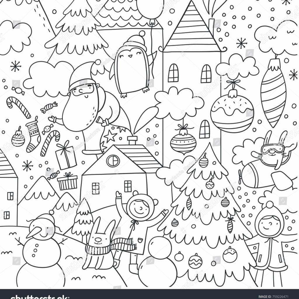 Christmas And New Year Coloring Pages With Merry Happy Vector Stock Royalty Free