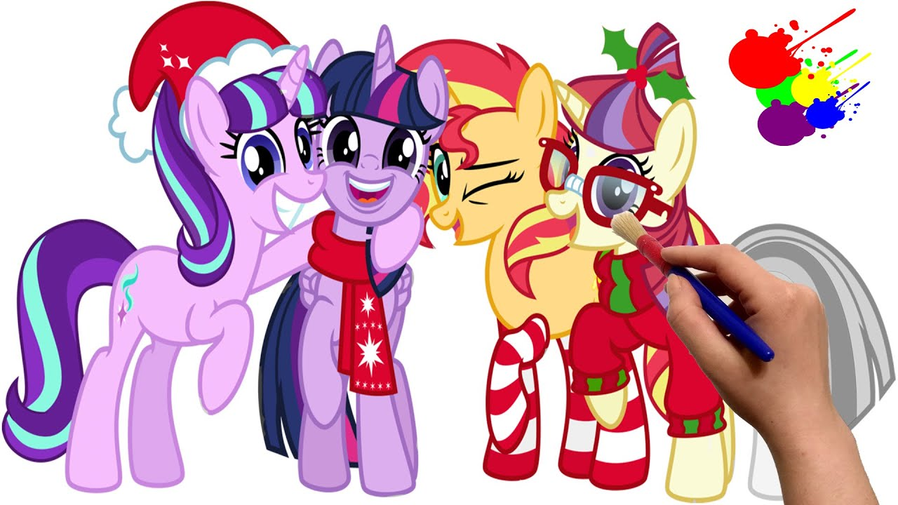 Christmas And New Year Coloring Pages With MLP Merry Happy Book Cartoon