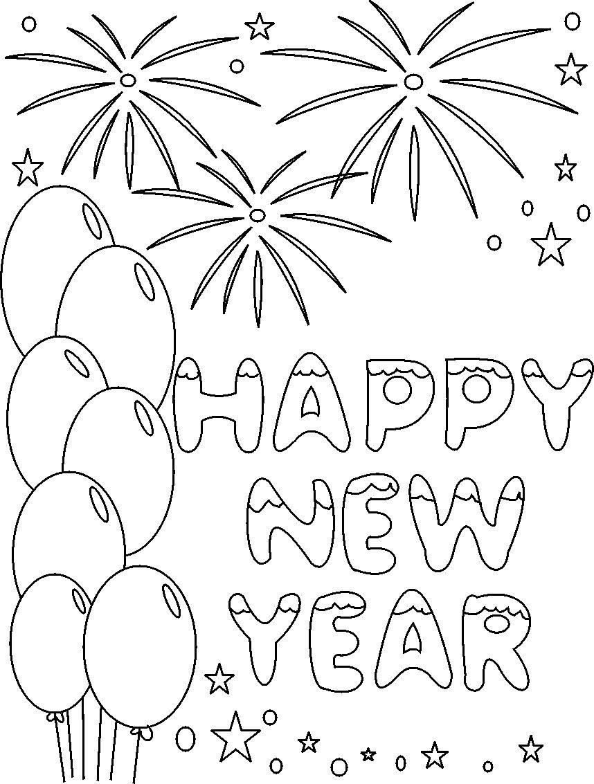 Christmas And New Year Coloring Pages With S Happy Printable