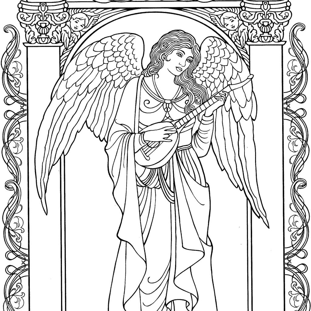 Christmas Angel Coloring Pages Printable With Beautiful Page Idea Pinterest