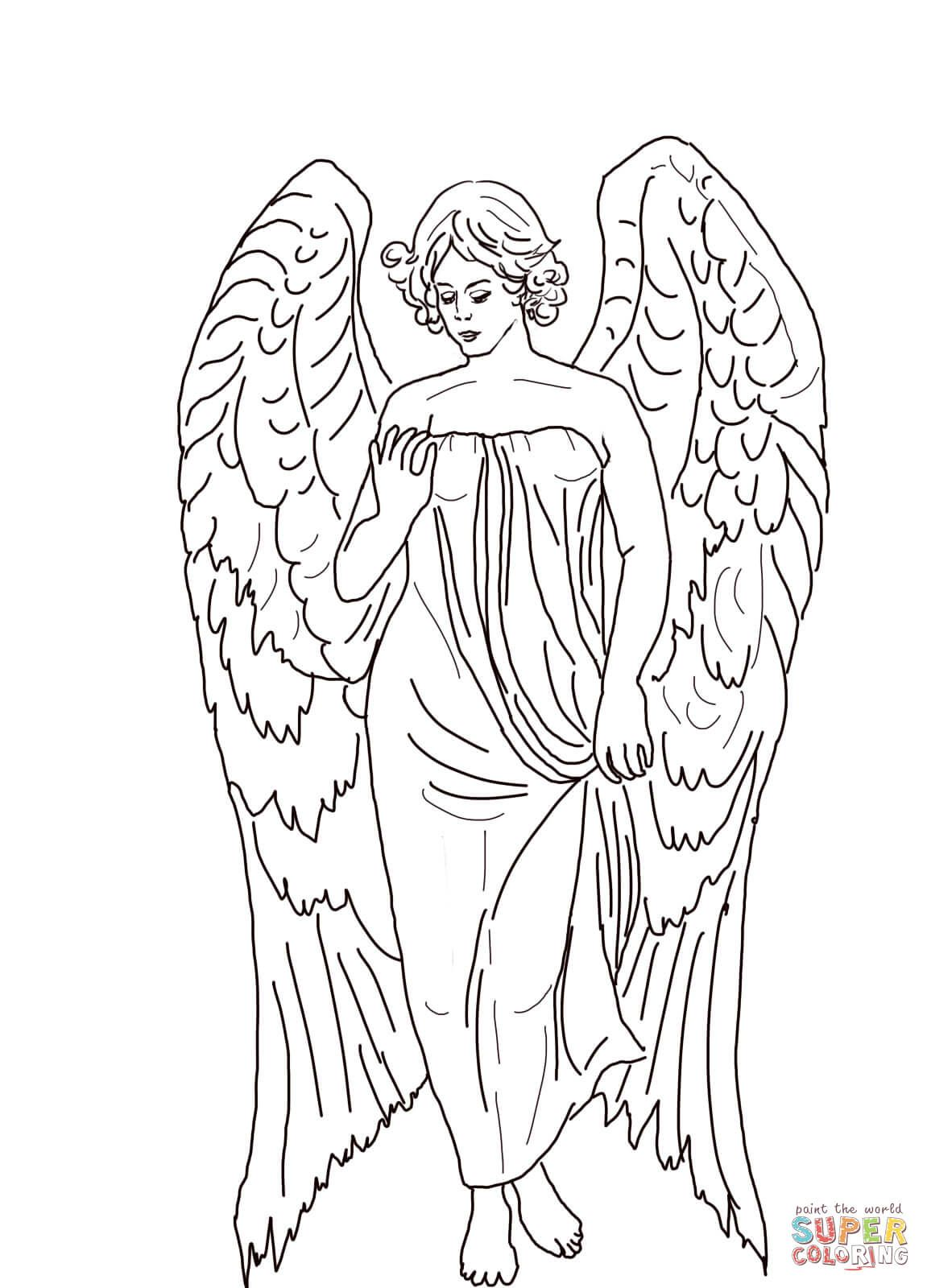 Christmas Angel Coloring Pages Printable With Guardian Super Things To Color Pinterest