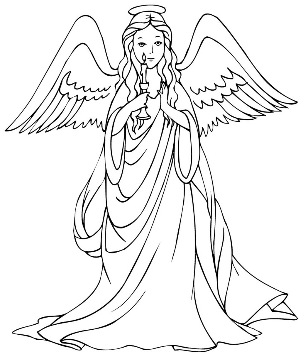Christmas Angel Coloring Pages Printable With Willpower Pictures Of Angels Simple