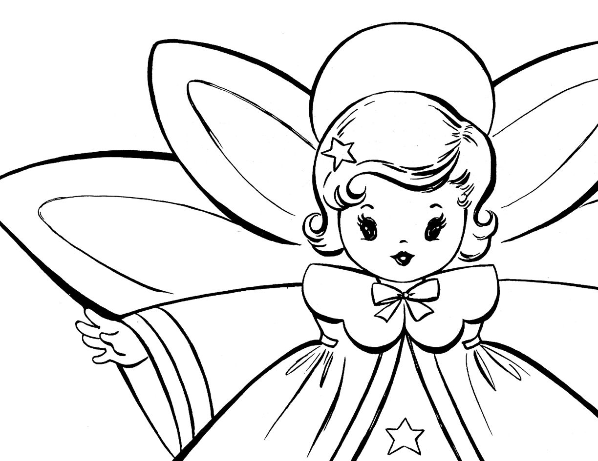 Christmas Angel Coloring Pages To Print With Free Retro Angels Pinterest