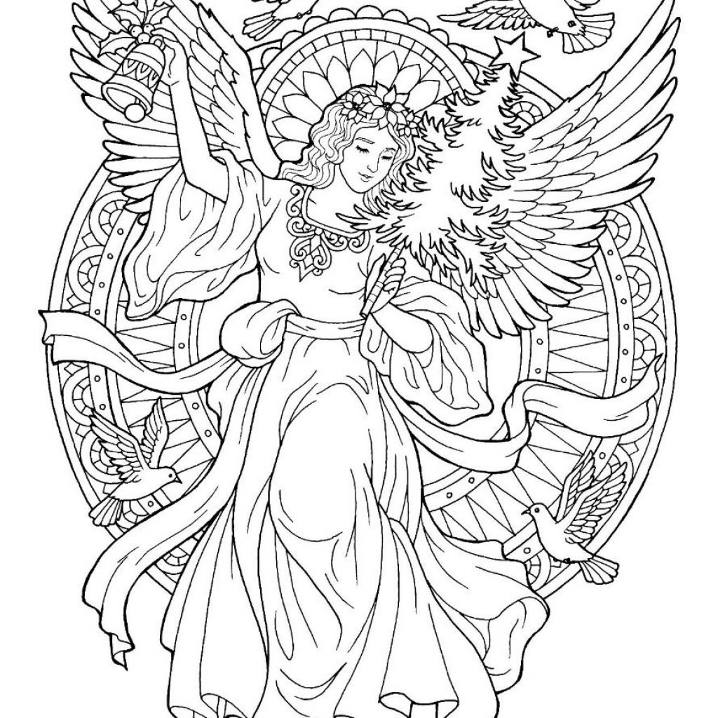 Christmas Angel Coloring Pages To Print With Page Adult Pinterest