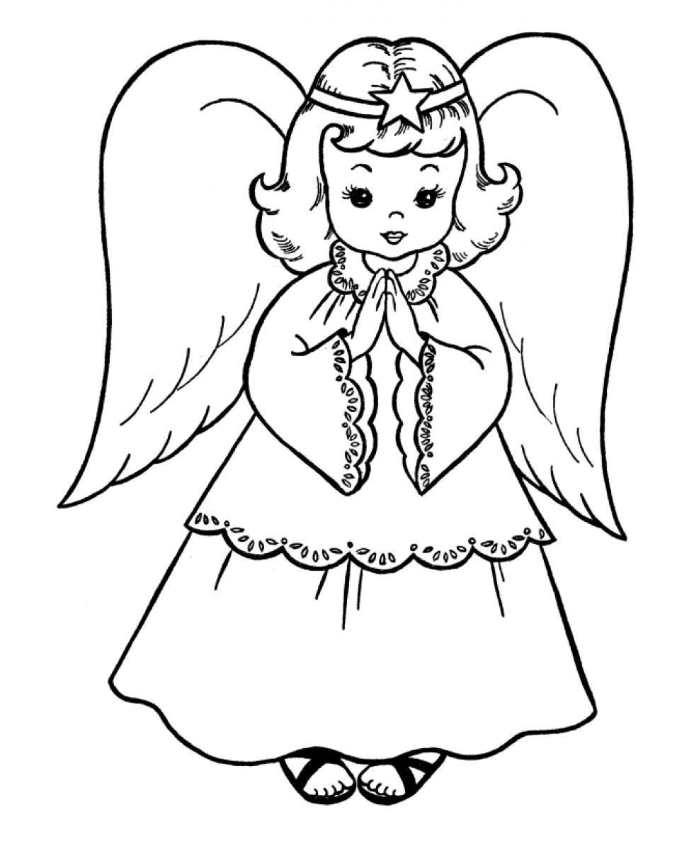 Christmas Angel Coloring Pages With For Kids And Adults