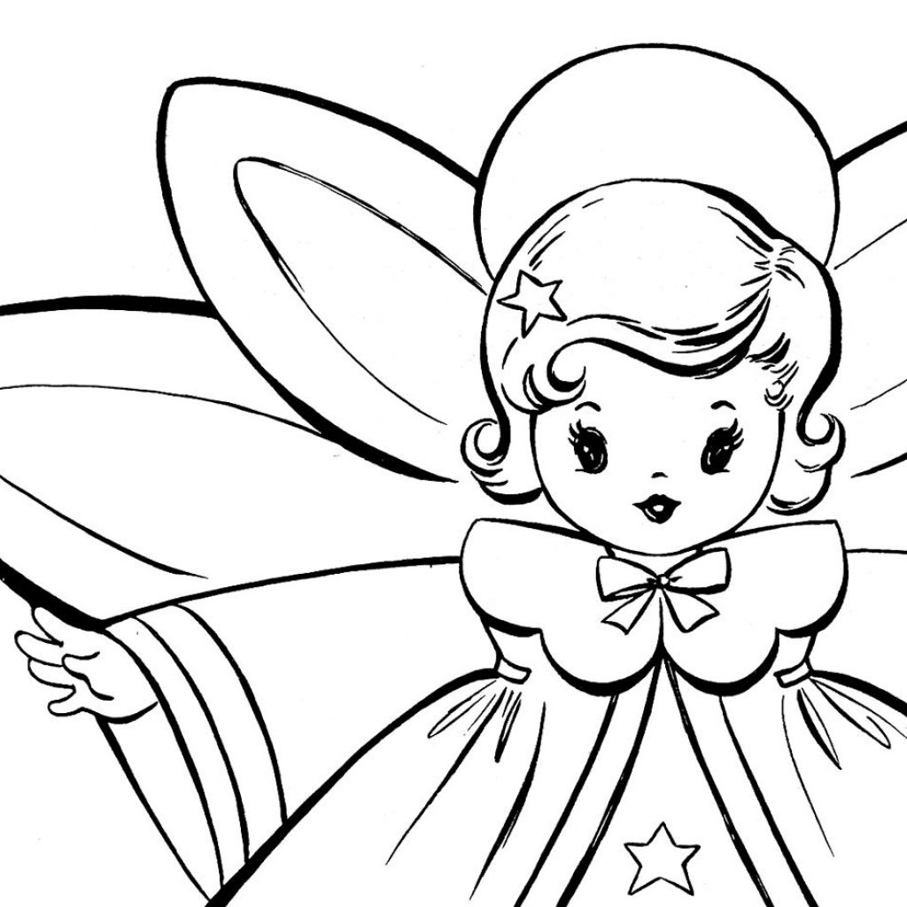 Christmas Angel Coloring Pages With Free Retro Angels Pinterest