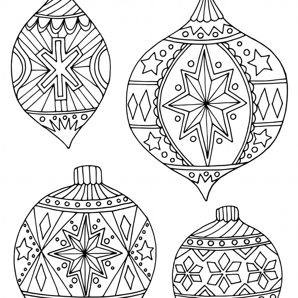 Christmas Angel Ornaments Coloring Pages Printable With Tree Decorations Sheets Save