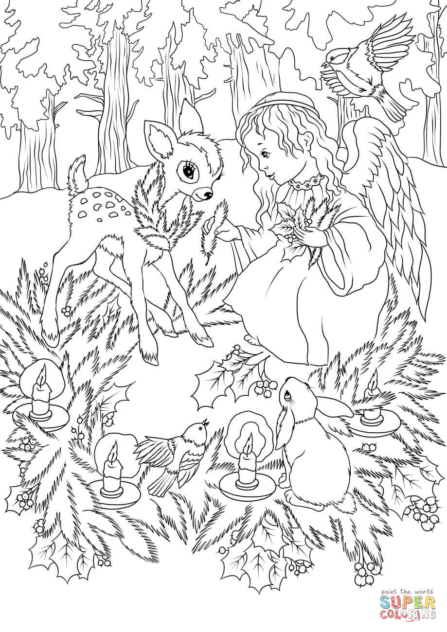 Christmas Animals Coloring Pages Printable With Angel Page Free