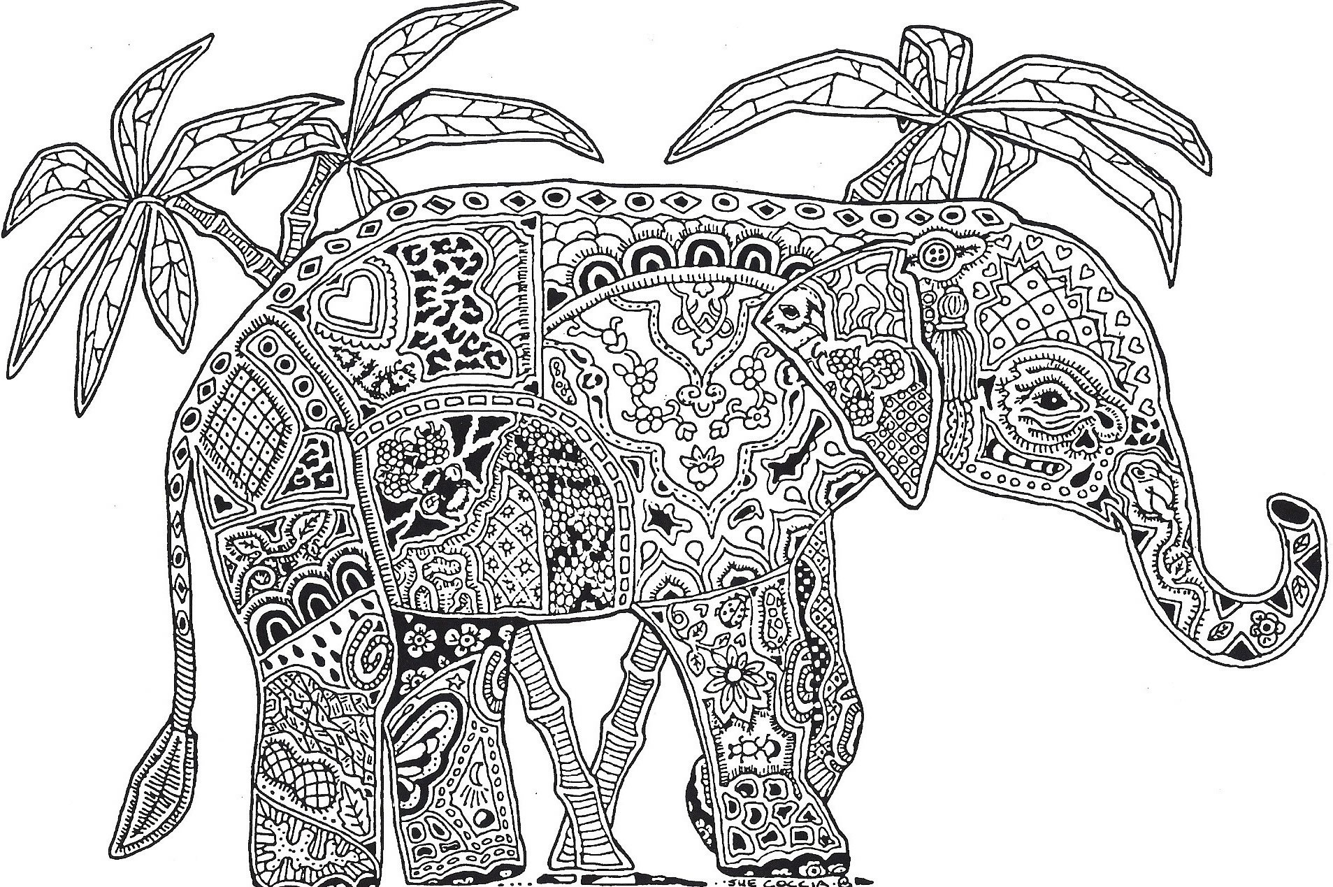 Christmas Animals Coloring Pages Printable With Elephant Dr Odd