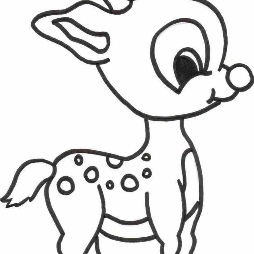 Christmas Animals Coloring Pages Printable With Free Reindeer For Kids Sketch Pinterest