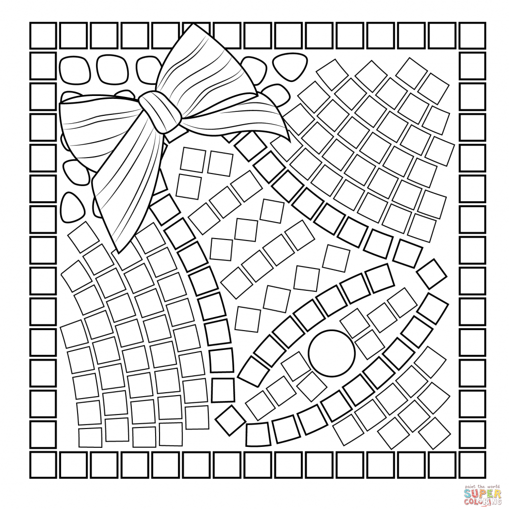 Christmas Art Coloring Pages With Bell Mosaic Page Free Printable