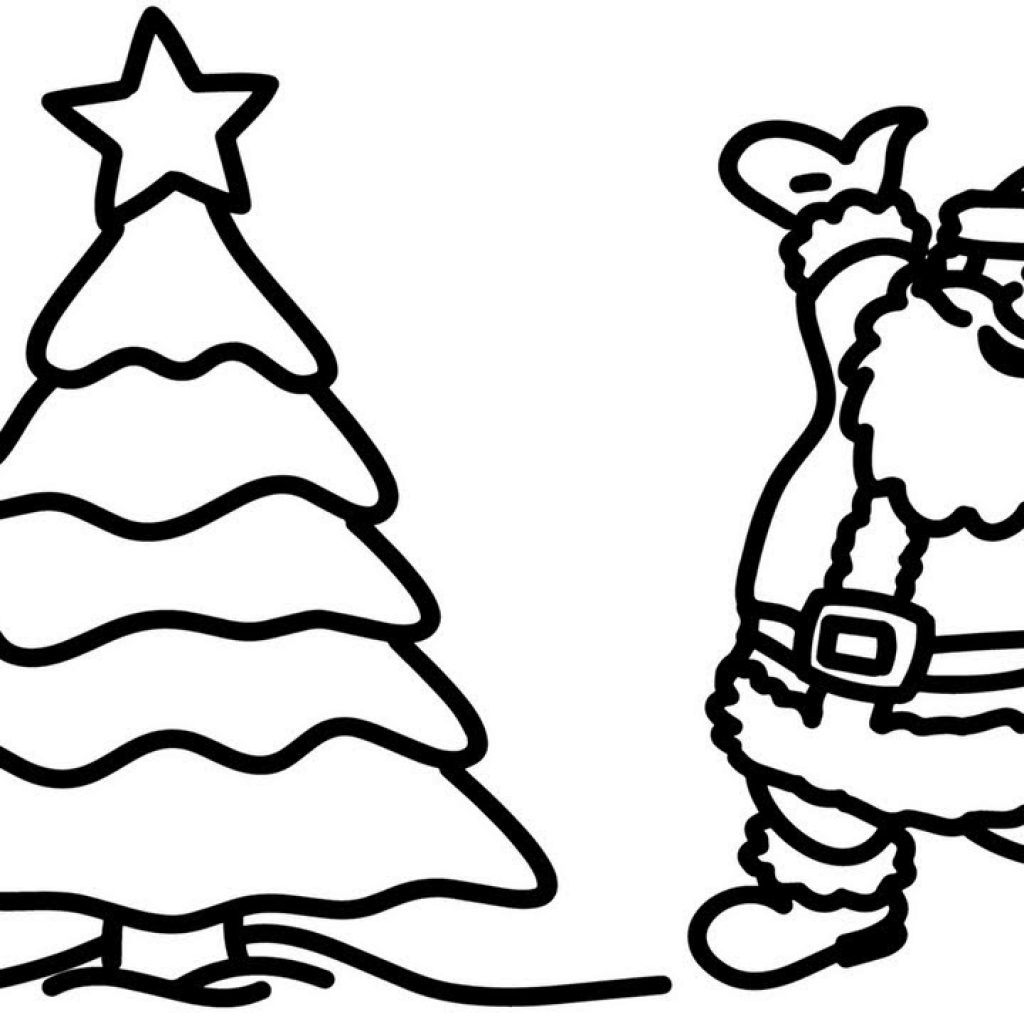 Christmas Art Coloring Pages With Santa And Tree Creativity Colors