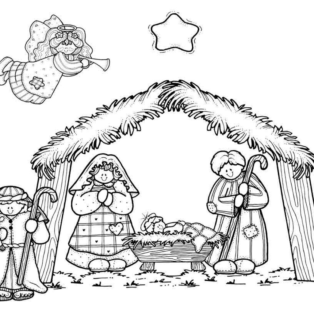 Christmas Baby Jesus Coloring Pages With Simple Nativity Scene Drawing At GetDrawings Com Free For Personal