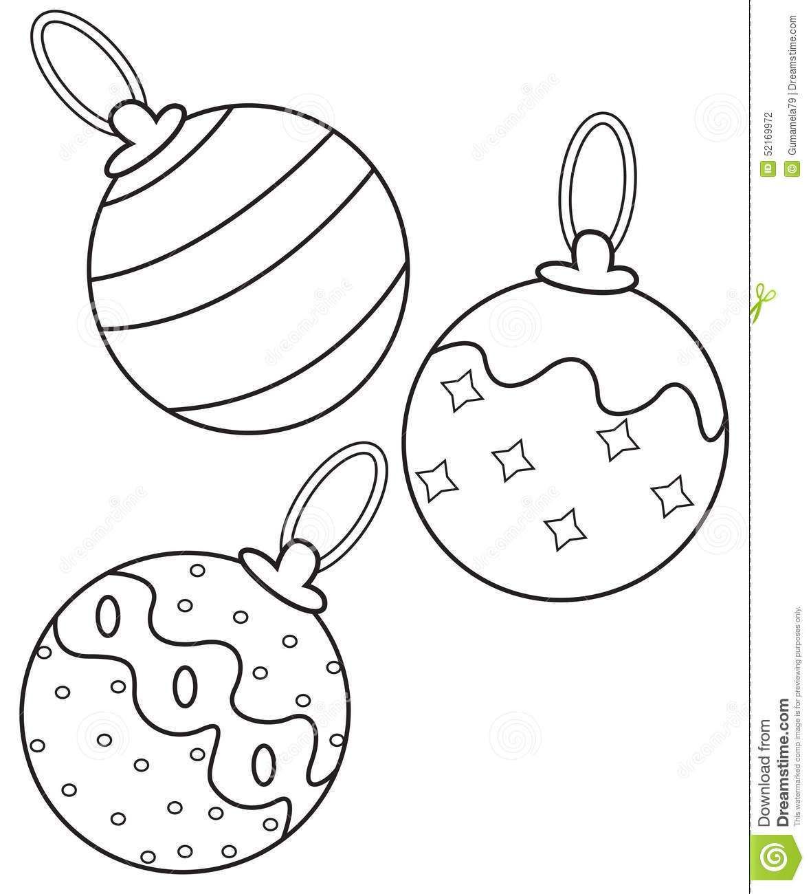 Christmas Ball Printable Coloring Pages With Balls Page Stock Illustration Of