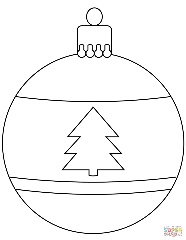 Christmas Ball Printable Coloring Pages With Bauble Ornament Page Free