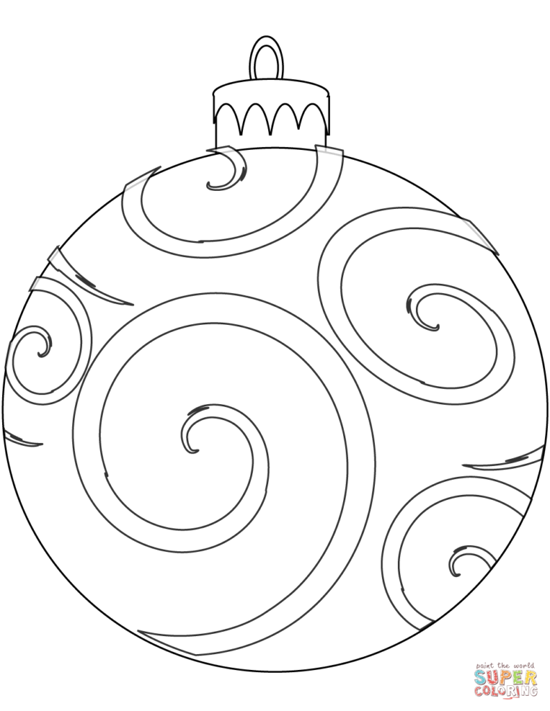 Christmas Ball Printable Coloring Pages With Holiday Ornament Page Free