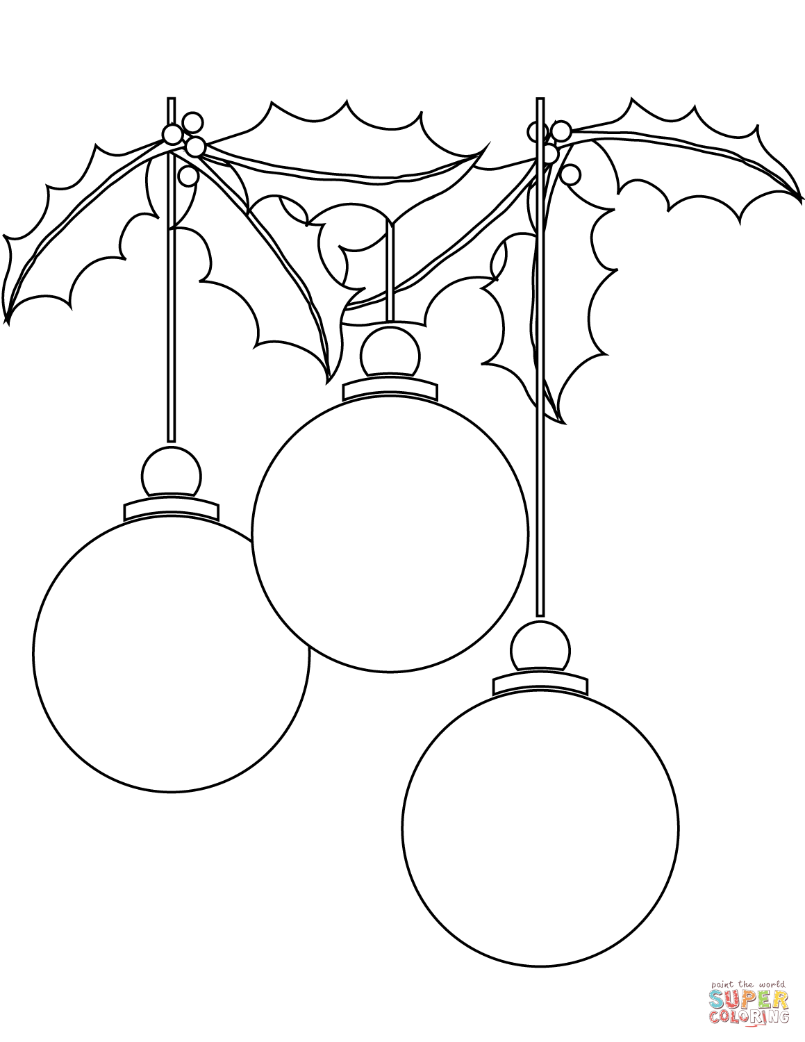 Christmas Ball Printable Coloring Pages With Ornaments Page Free
