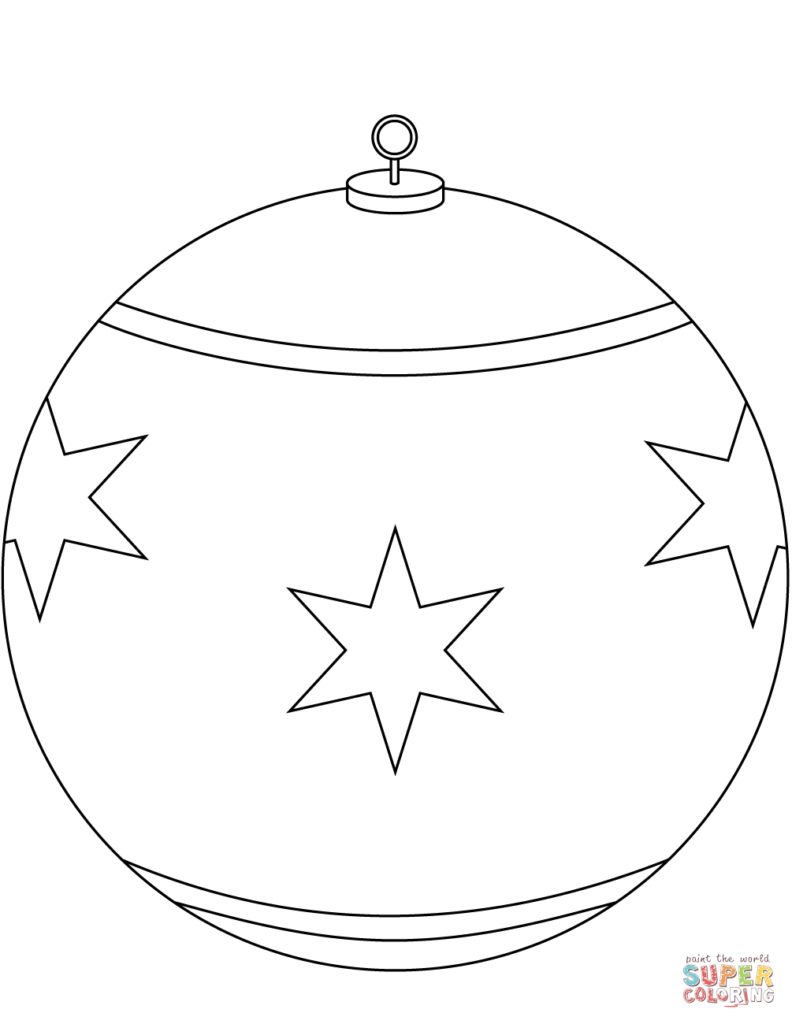 Christmas Ball Printable Coloring Pages With Round Ornament Page Free