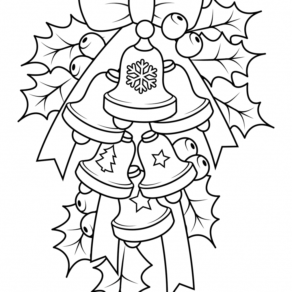 Christmas Bell Coloring Page Printable With Bells And Holly Free Pages