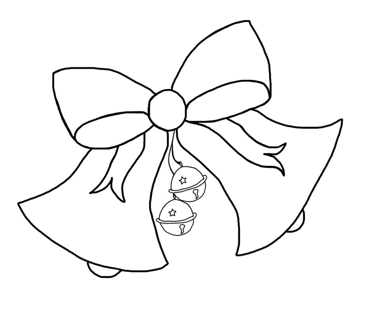 Christmas Bell Coloring Page Printable With Bells Drawing Free