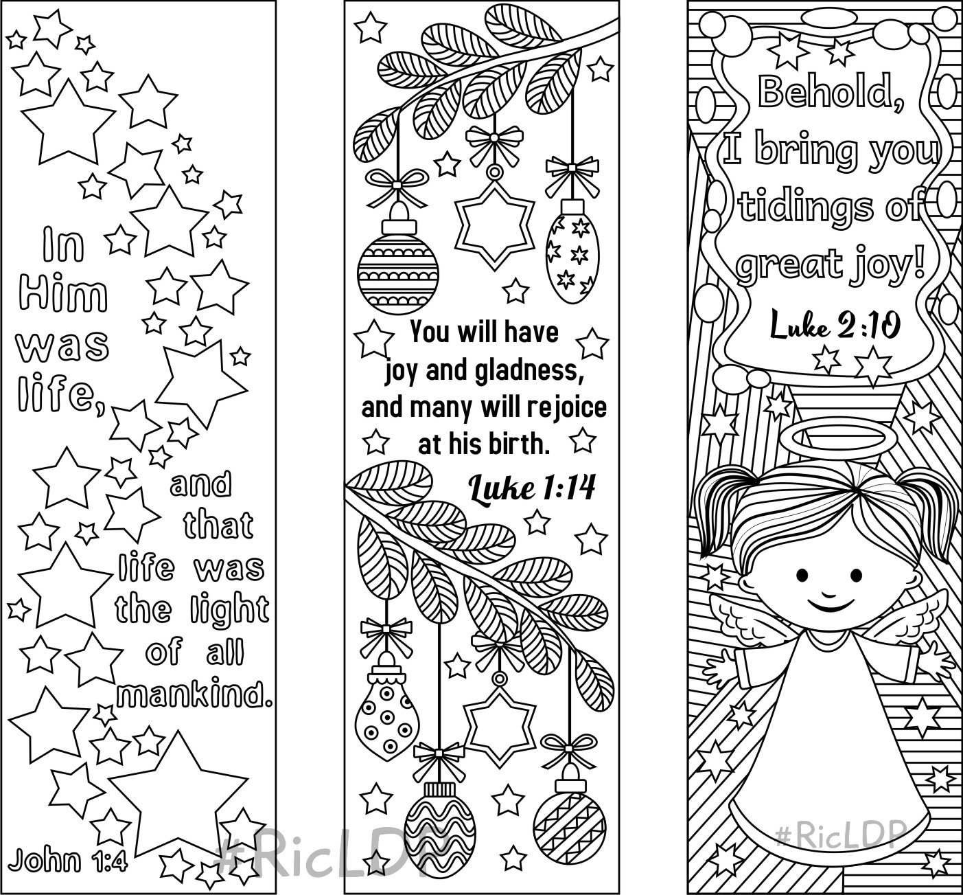 Christmas Bible Verse Coloring Pages With Set Of 9 Bookmarks 6 Verses Etsy