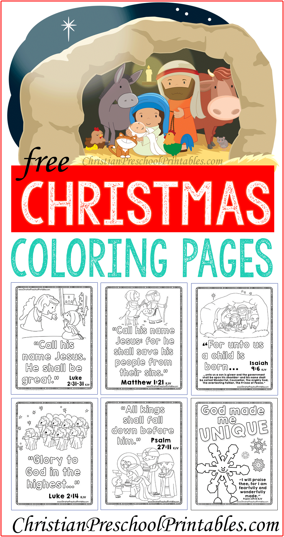 Christmas Bible Verse Coloring With Pages Sunday School Free Printable And