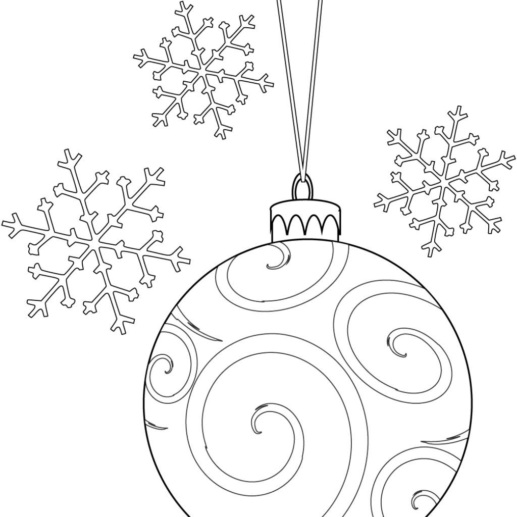 Christmas Bulb Coloring Pages Printable With And Snowflakes Page Free