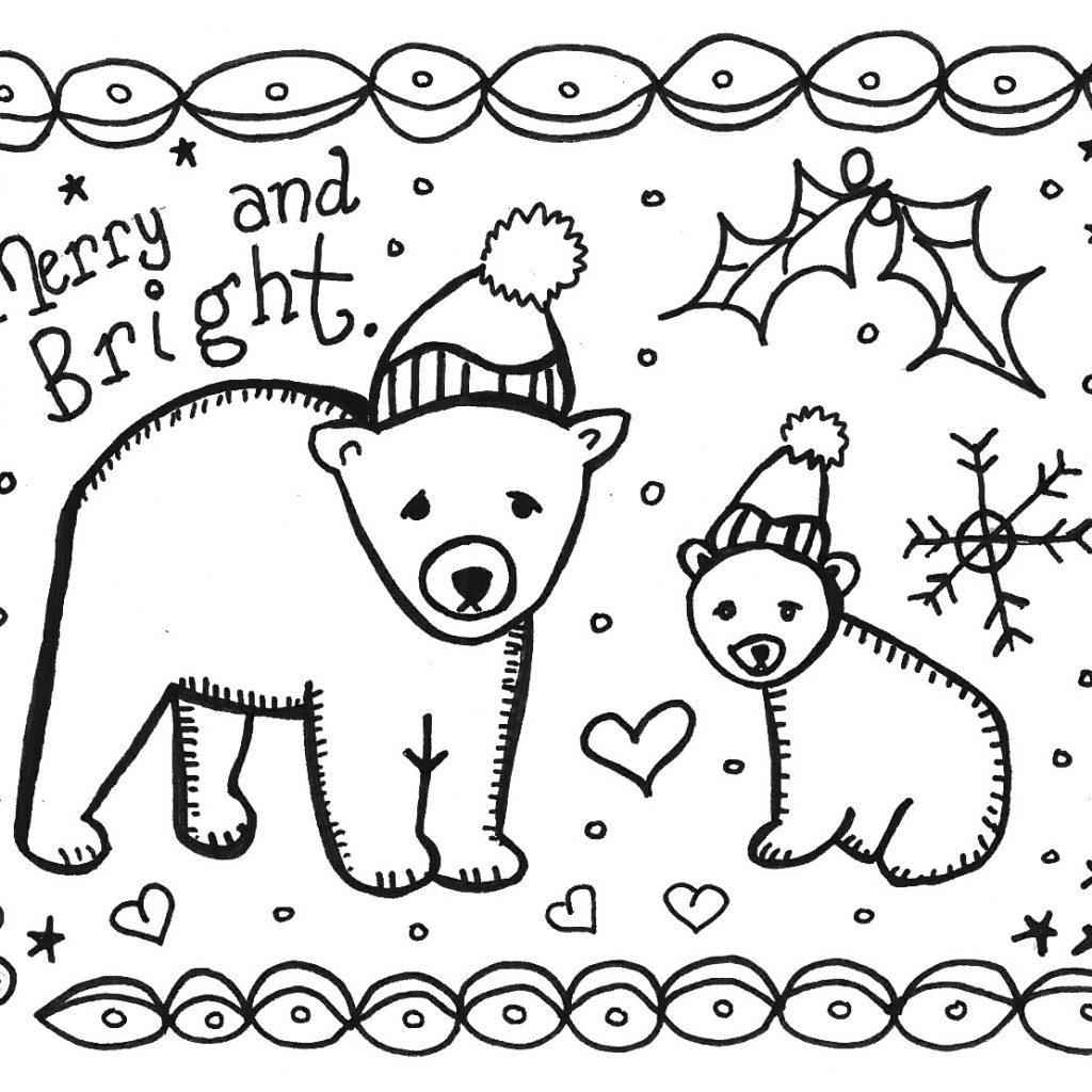 Christmas Card Coloring Pages Pdf With 38 Unique Printable Cards Kitty Baby Love
