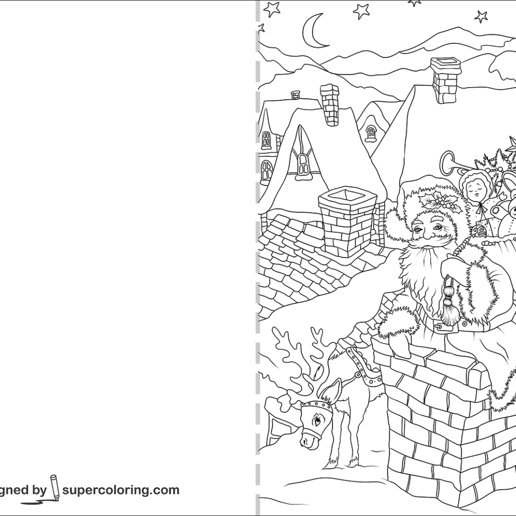 Christmas Card Coloring Pages Pdf With Santa Claus Is Going Down Through A Chimney