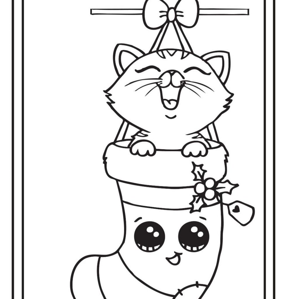 Christmas Card Coloring Pages Printable With Kitten Draw So Cute