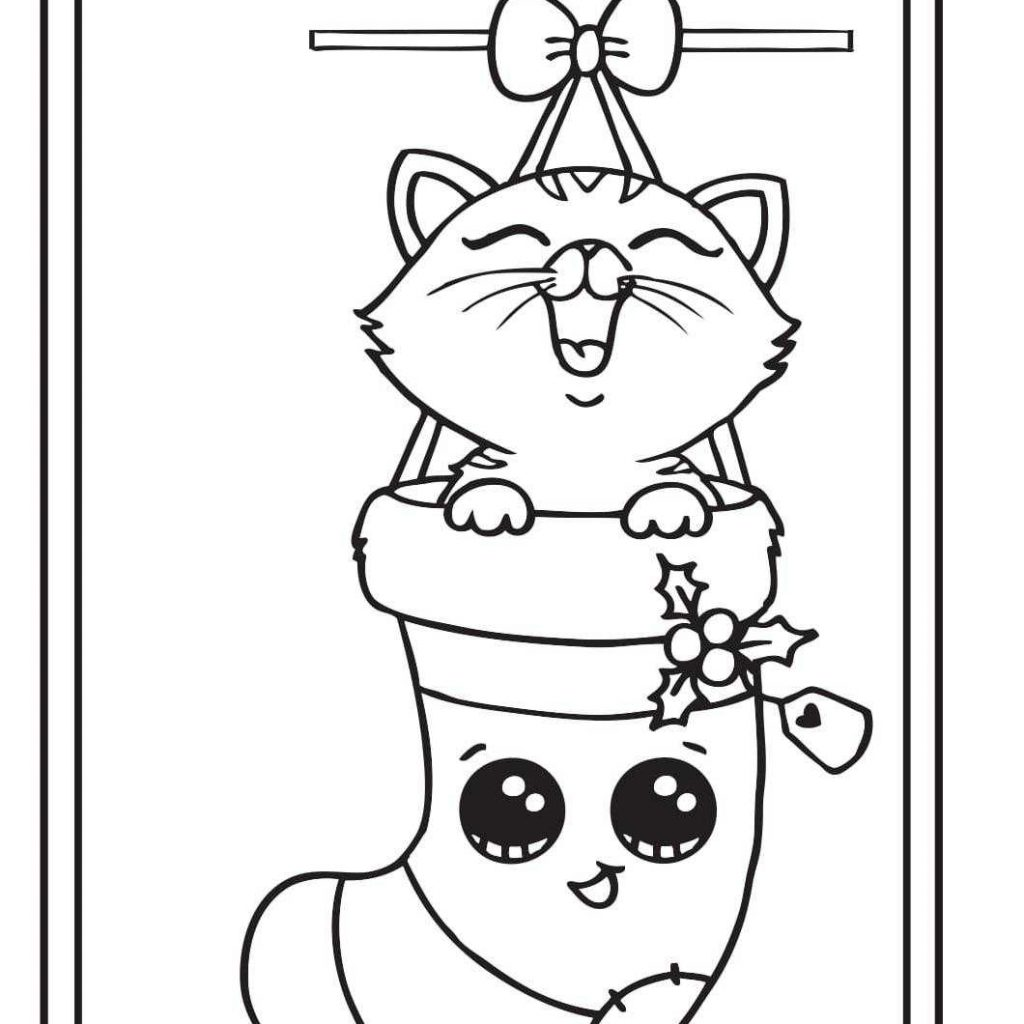 Christmas Card Coloring Pages With Kitten Draw So Cute Printable