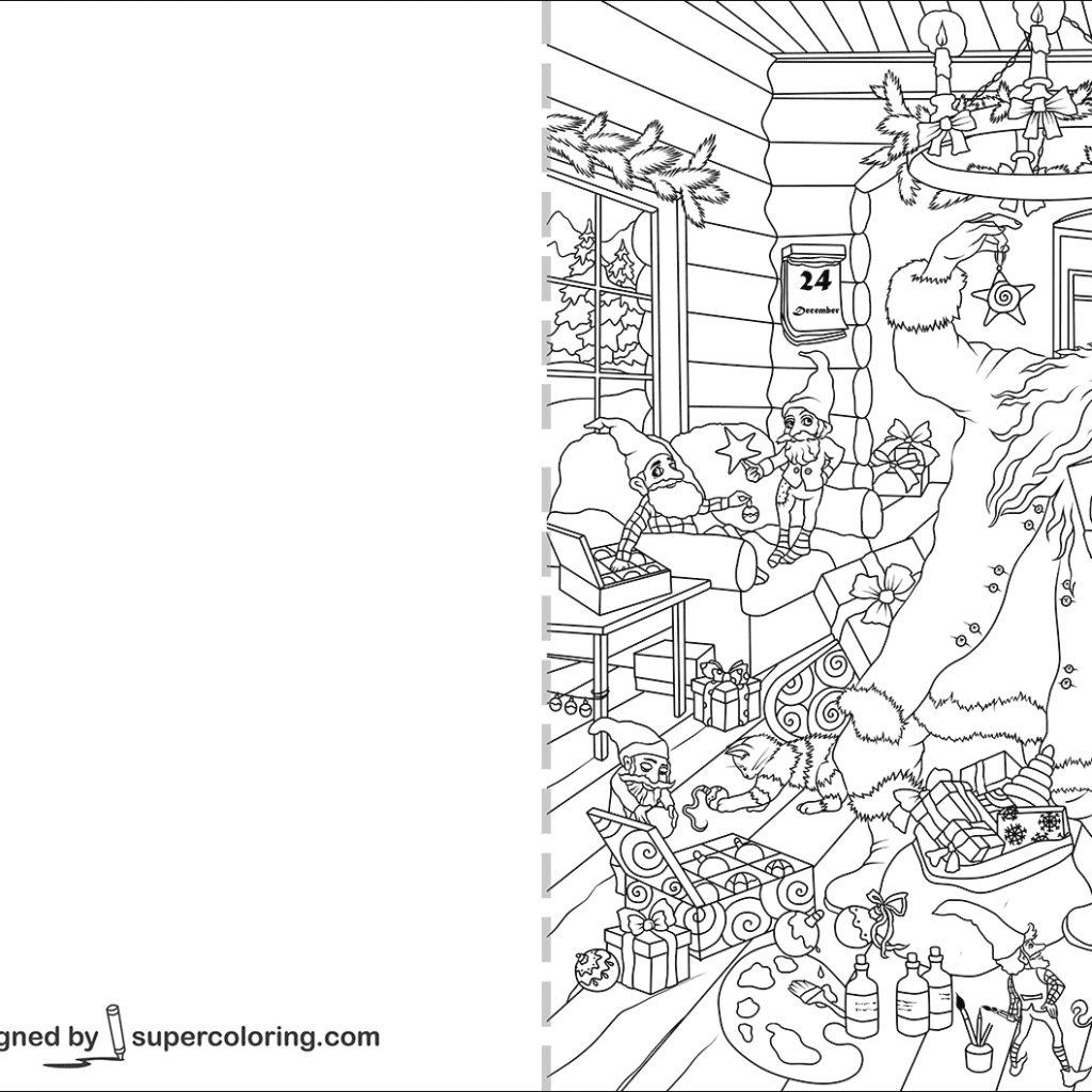 Christmas Card Coloring Pages With Santa Claus And Presents Page Free