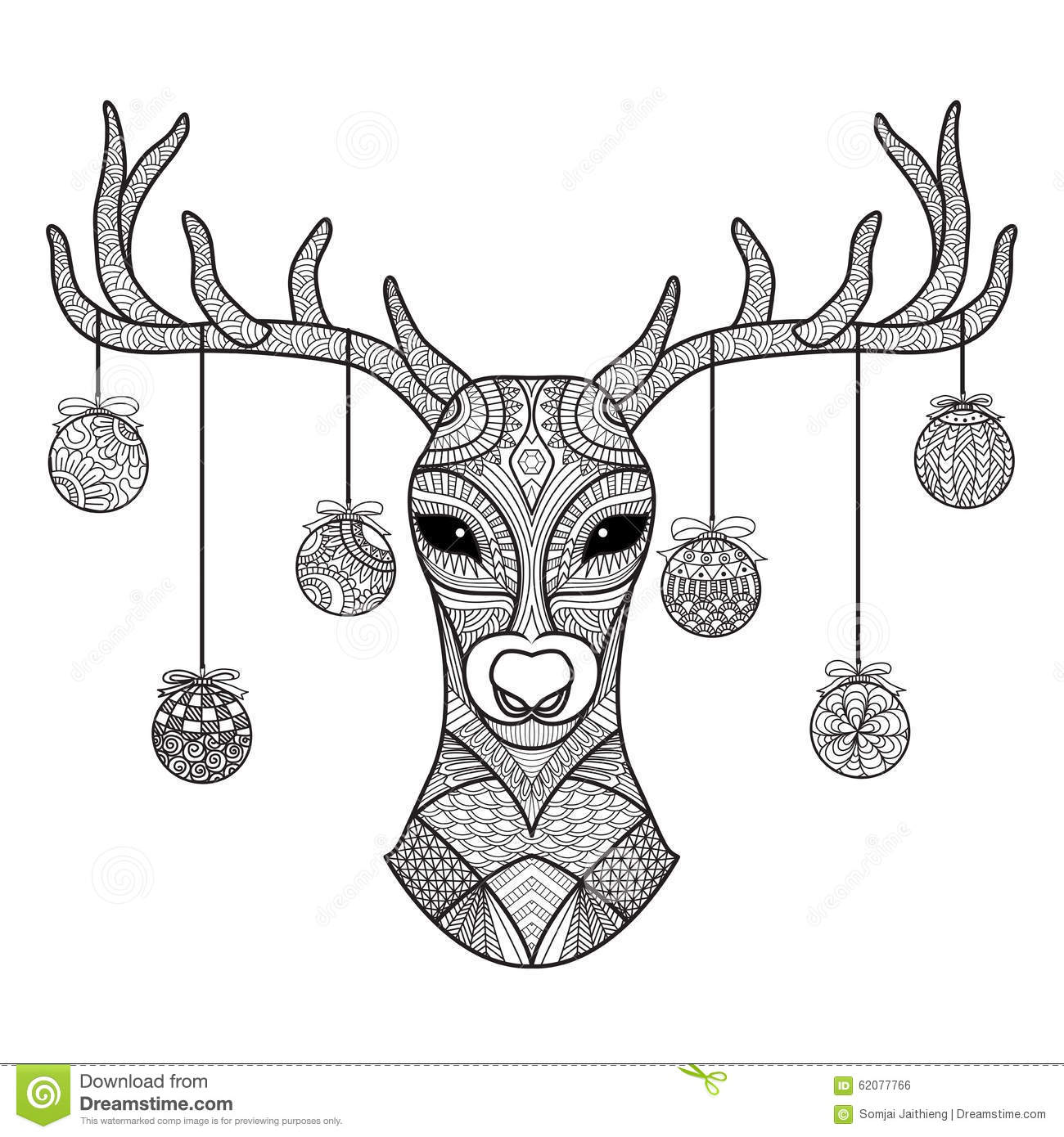 Christmas Card Coloring Sheets With Hand Drawn Deer Head Balls Hanging On Its Horn For