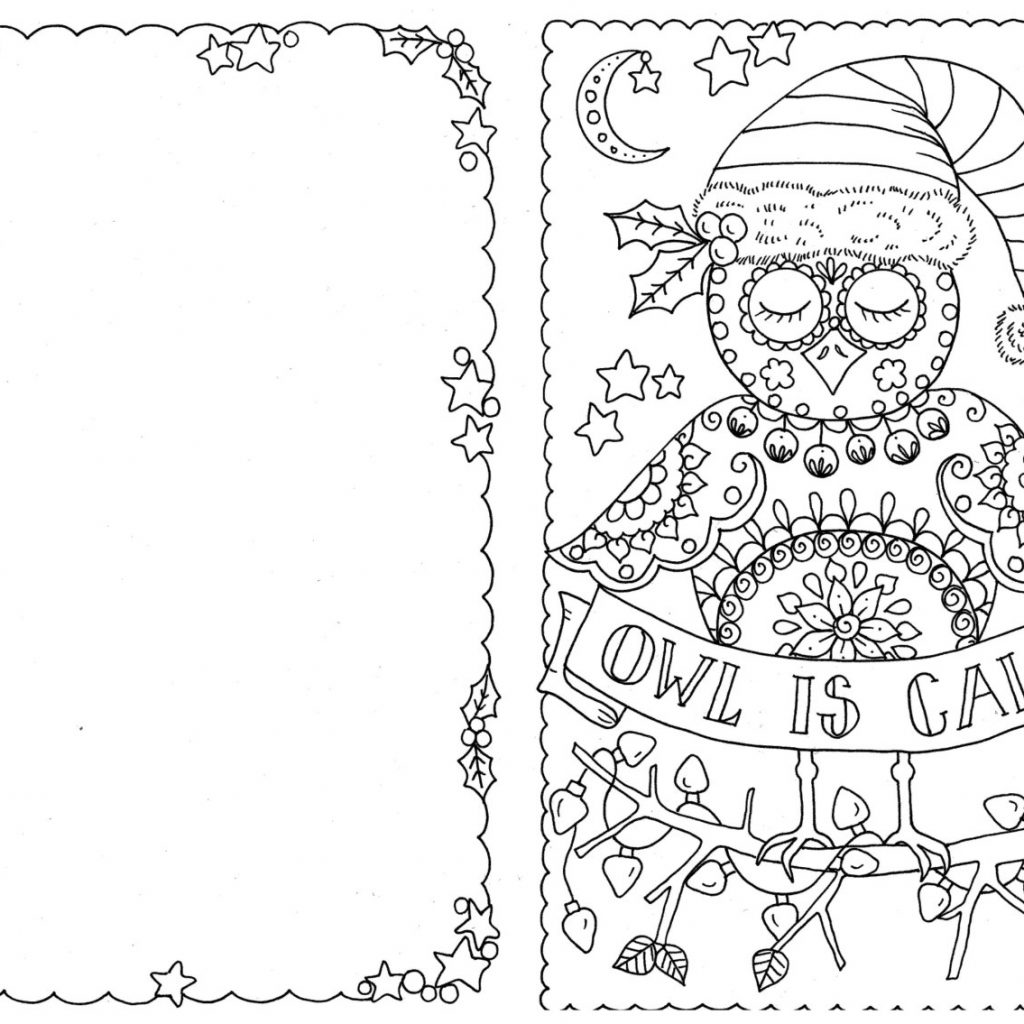 Christmas Card Coloring Sheets With Owl Pages 2542664