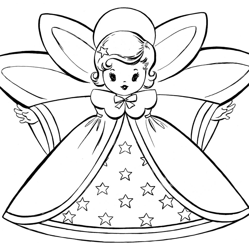 Christmas Card Colouring Pages With Free Coloring Retro Angels The Graphics Fairy