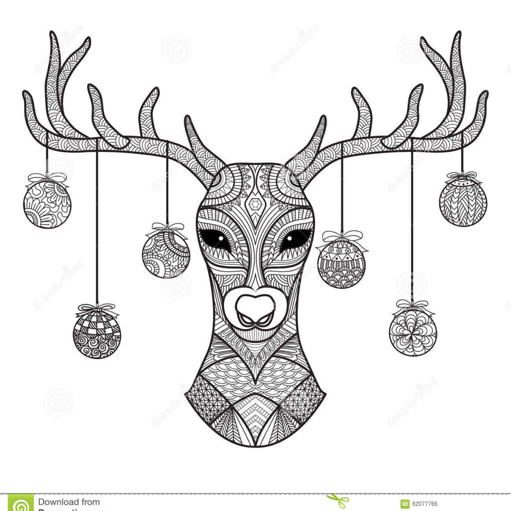 Christmas Card Colouring Pages With Hand Drawn Deer Head Balls Hanging On Its Horn For