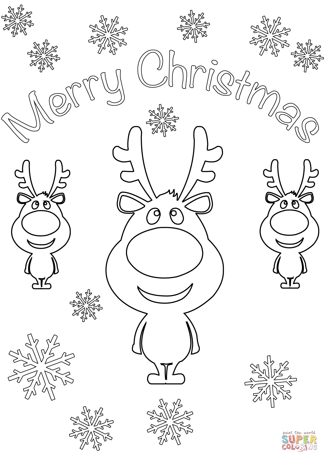 Christmas Card Colouring Pages With Merry Cartoon Reindeers Coloring Page Free