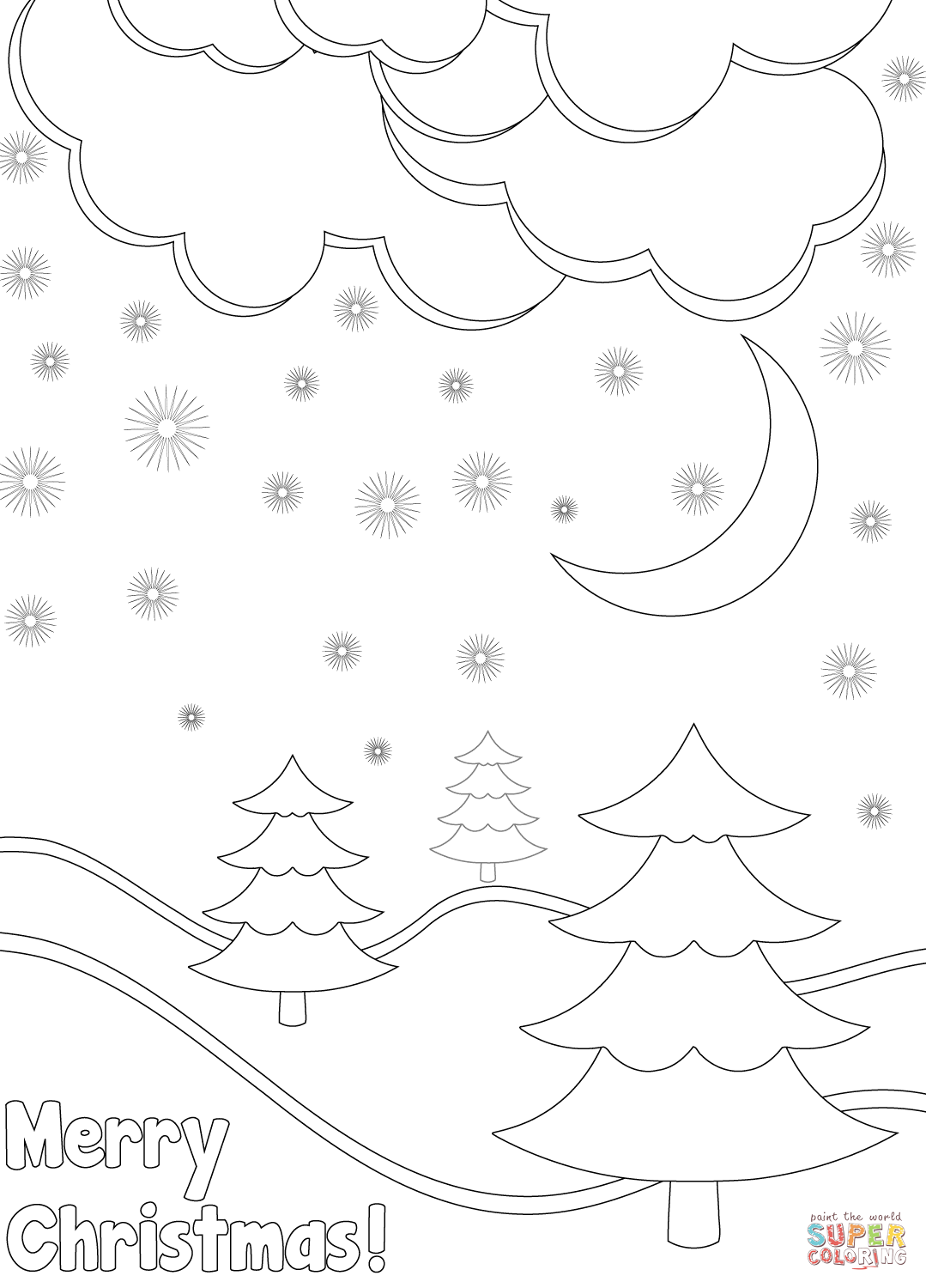 Christmas Card Colouring Pages With Merry Winter Landscape Coloring Page Free