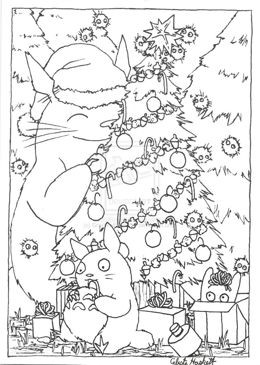 Christmas Card Colouring Pages With Totoro Lineart By GrayWolfShadow Deviantart Com On