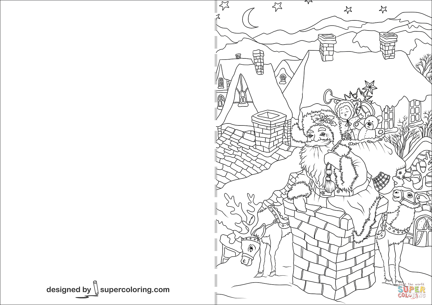 Christmas Cards Coloring Pages With Santa Claus Is Going Down Through A Chimney Card