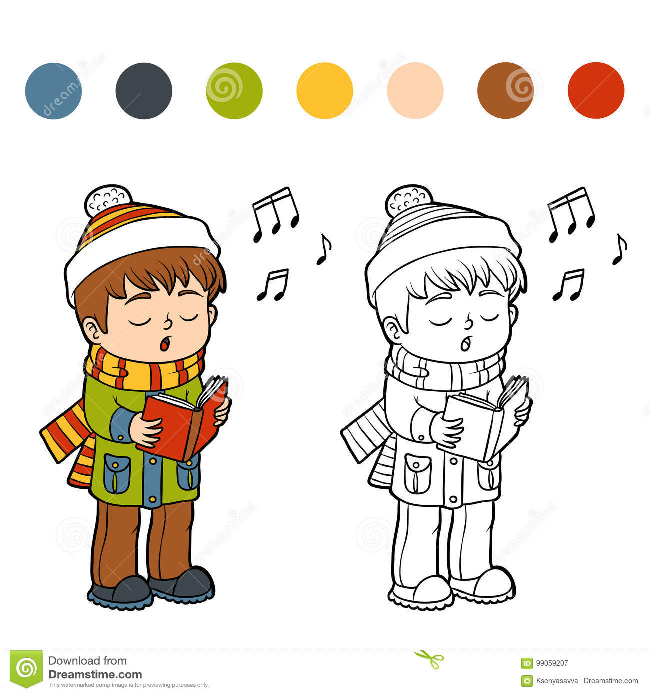 Christmas Carol Coloring Book With Boy Singing A Song Stock Vector