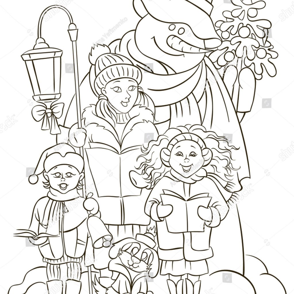 Christmas Carol Coloring Book With Choir Singers Christian Holiday Stock Vector