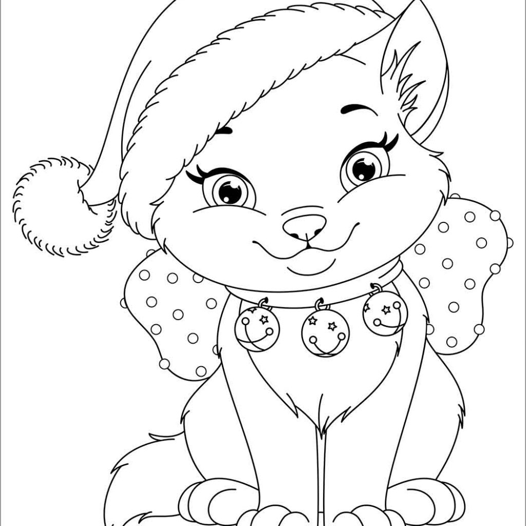 Christmas Cat Coloring Pages With ColoringBay