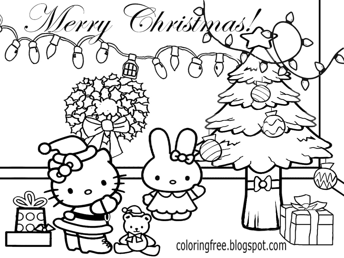 Christmas Cat Coloring Pages With Hello Kitty For Kids And Printable