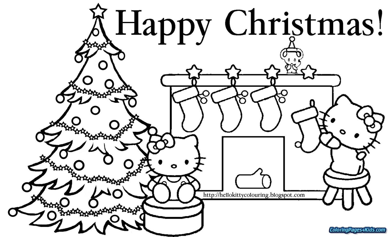 Christmas Cat Coloring Pages With Hello Kitty For Kids