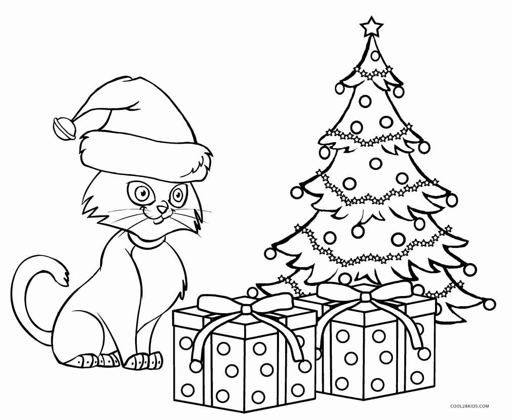 Christmas Cat Coloring Pages With Kitty Free